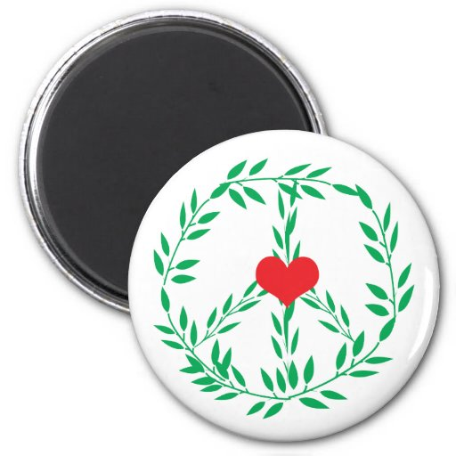 Peace Sign With Heart Center Magnet