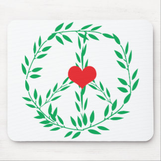 Peace Sign With Heart Center Mousepad