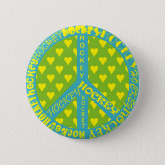 Peace Sign with Hockey in Frame 6 Cm Round Badge