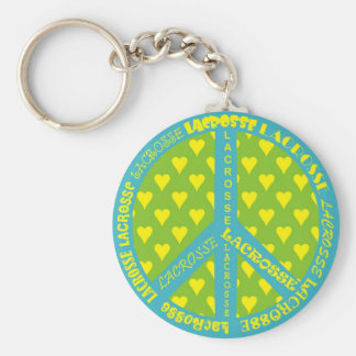 Peace Sign with Lacrosse in Frame Key Chains