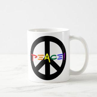 Peace Sign with Rainbow Coffee Mug