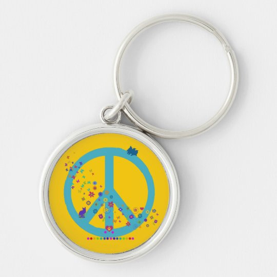 Peace Sign with Rainbow Colours Silver-Colored Round Key Ring