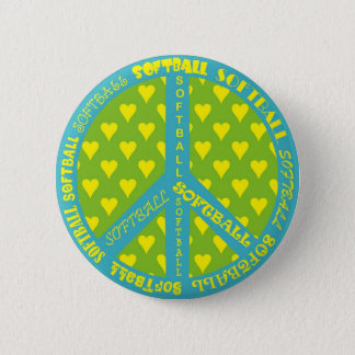Peace Sign with Softball in Frame 6 Cm Round Badge