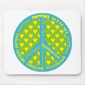 Peace Sign with Softball in Frame Mousepad