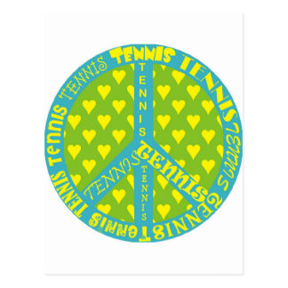 Peace Sign with Tennis in Frame Post Card