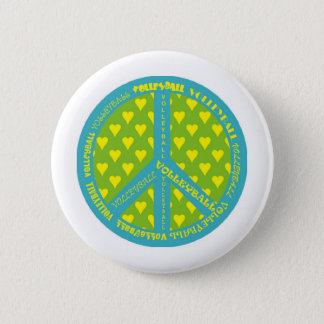 Peace Sign with Volleyball in Frame 6 Cm Round Badge