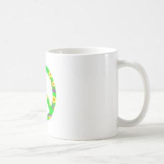Peace Sign Yellow Cherry Blossom Basic White Mug