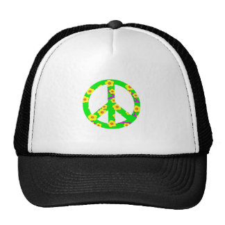 Peace Sign Yellow Cherry Blossom Trucker Hat