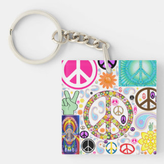 Peace Signs Collage Double-Sided Square Acrylic Key Ring