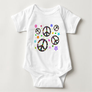 Peace Signs & Flowers Baby Bodysuit
