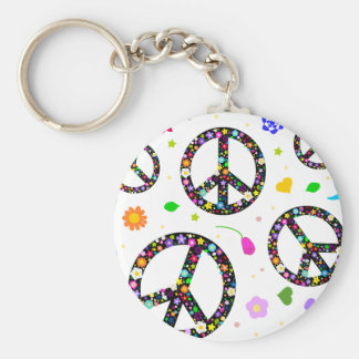 Peace Signs & Flowers Basic Round Button Key Ring