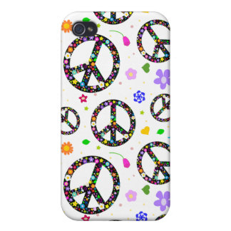 Peace Signs & Flowers Cover For iPhone 4