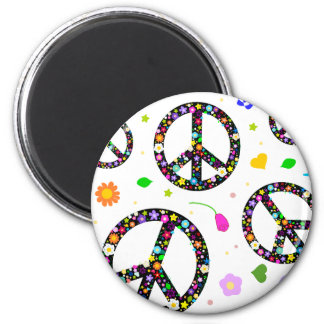 Peace Signs & Flowers Magnet