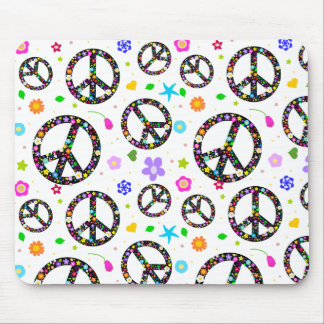 Peace Signs & Flowers Mouse Pad