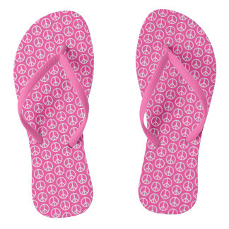 Peace Signs on Bright Pink Flip Flops
