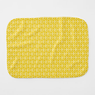 Peace Signs on Sunny Yellow Baby Burp Cloths