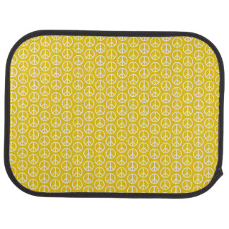 Peace Signs on Sunny Yellow Car Mat