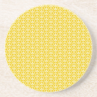 Peace Signs on Sunny Yellow Drink Coasters