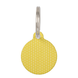 Peace Signs on Sunny Yellow Pet Name Tag