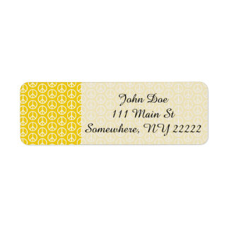 Peace Signs on Sunny Yellow Return Address Label
