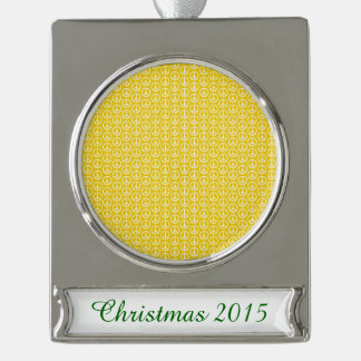 Peace Signs on Sunny Yellow Silver Plated Banner Ornament