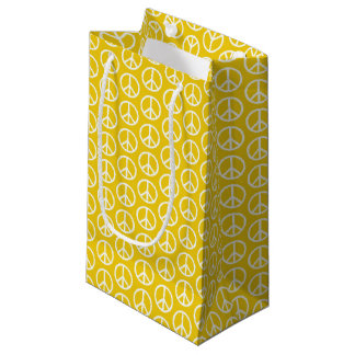 Peace Signs on Sunny Yellow Small Gift Bag