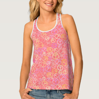 Peace Signs Pattern on Pink Tank Top