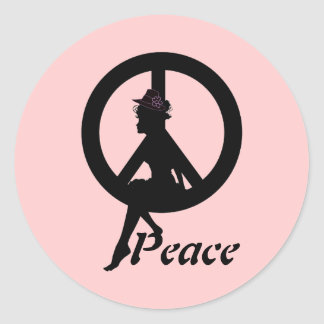 PEACE SILHOUETTE ROUND STICKER