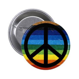 peace simbol rainbow 6 cm round badge