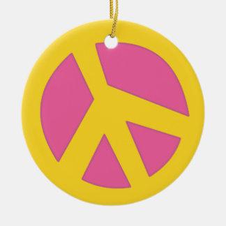 Peace-Smiley Yellow Christmas Ornament