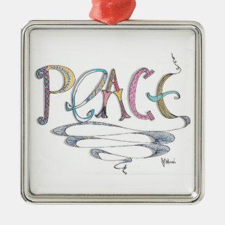 Peace Square Metal Ornament