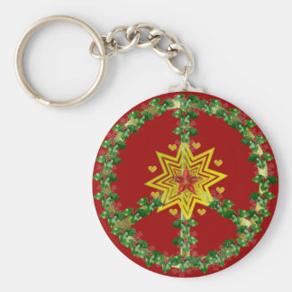 Peace Star Christmas Basic Round Button Key Ring