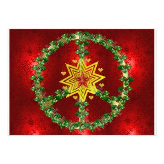 Peace Star Christmas Custom Invites