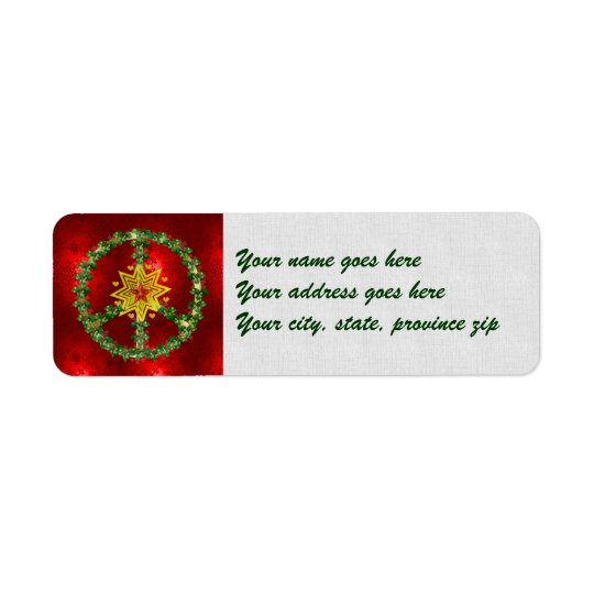 Peace Star Christmas Return Address Label