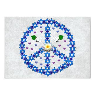 Peace Star Of David 13 Cm X 18 Cm Invitation Card