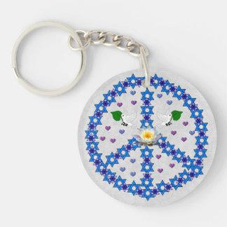 Peace Star Of David Single-Sided Round Acrylic Key Ring