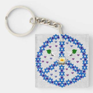 Peace Star Of David Square Acrylic Keychain