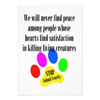 Peace STOP ANIMAL CRUELTY 5x7 Prints Invitations