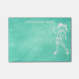 Peace Street Art Girl Mint Green Chalkboard Post-it Notes