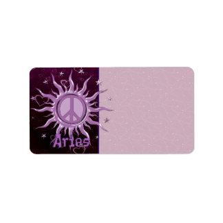 Peace Sun Aries Address Label