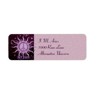 Peace Sun Aries Return Address Label