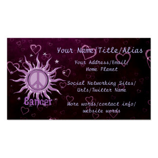 Peace Sun Cancer Pack Of Standard Business Cards