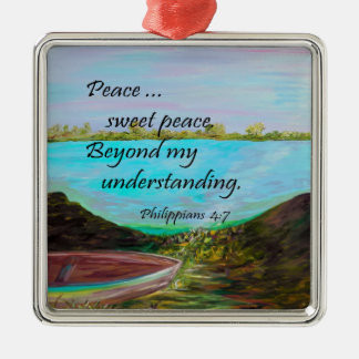Peace Sweet Peace Silver-Colored Square Decoration