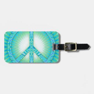 Peace Symbol Blue-Greens Luggage Tag