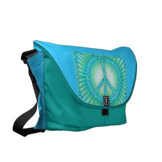 Peace Symbol Blue-Greens Courier Bag