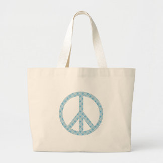 Peace Symbol Blue Patterned Canvas Bags