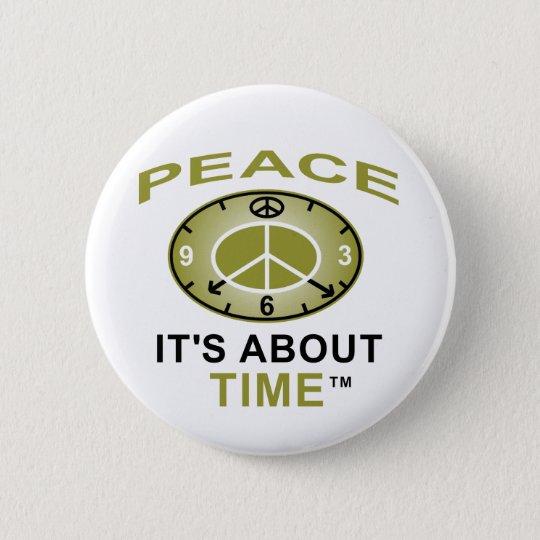 PEACE SYMBOL CLOCK Button (White)