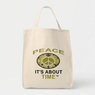 PEACE SYMBOL CLOCK Grocery Tote (Natural) Tote Bag