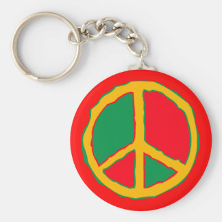Peace Symbol Designed In Bold Stimulating Colors Basic Round Button Key Ring