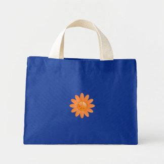 Peace Symbol Flower - Cantelope Orange Canvas Bag